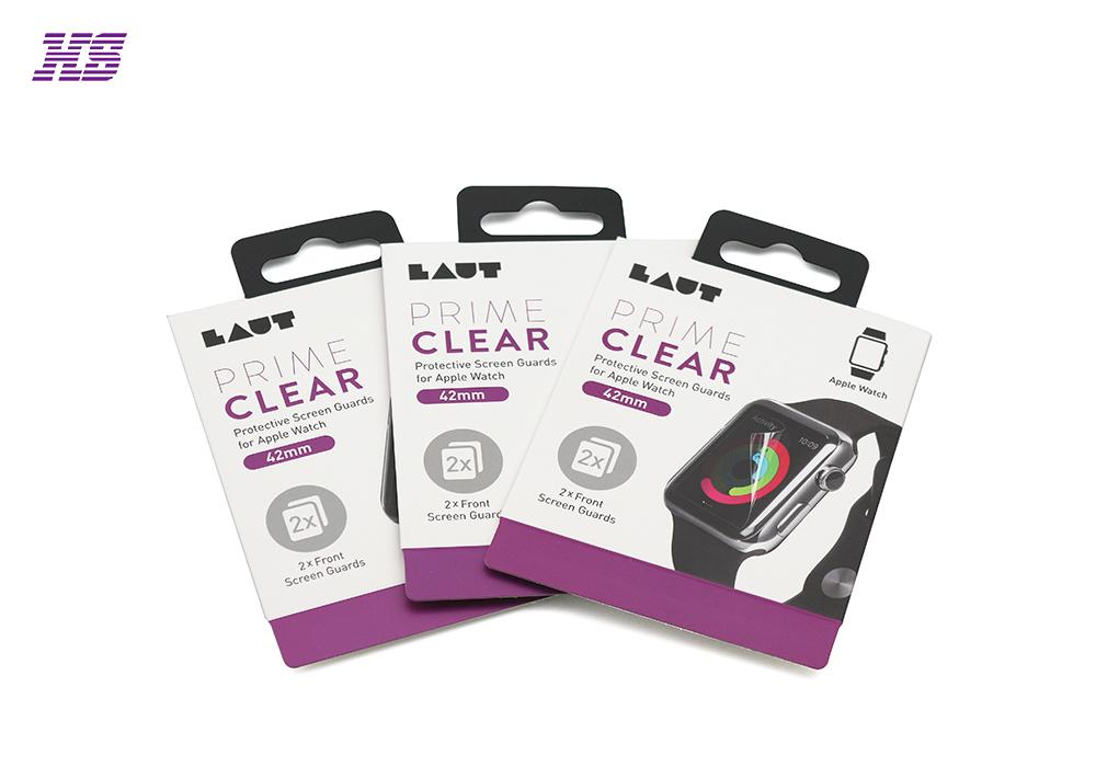 电子手表保护膜包装吊卡,彩色印刷,塑料挂钩,厂家专业定制logo