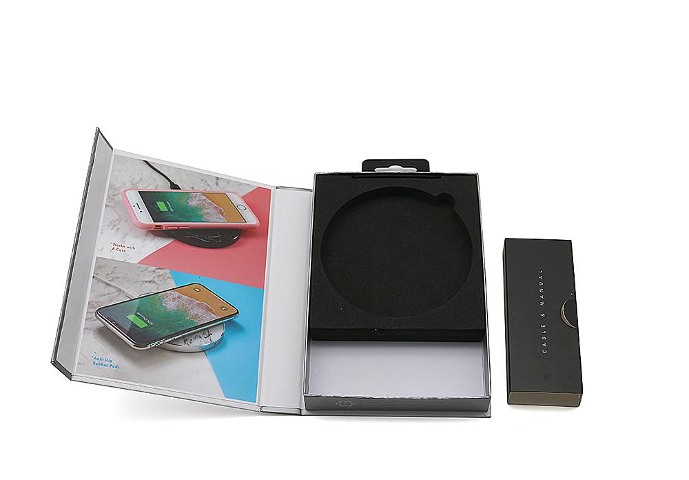 无线充电盘手工盒,EVA内托磁铁翻盖盒厂家定制印刷