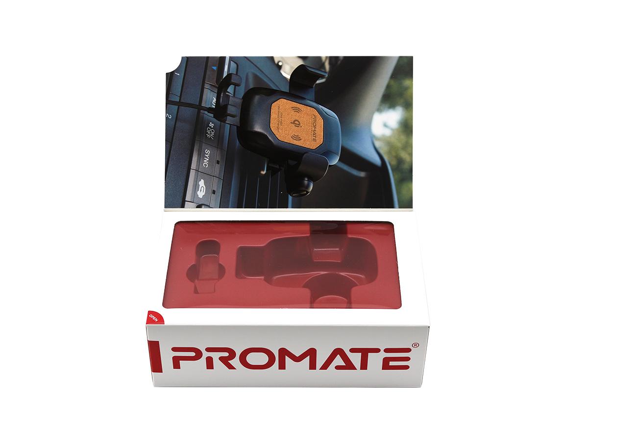 便携式无线车充充电器卡盒包装,翻盖磁铁盒,透明窗口定制logo